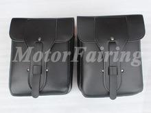 Quadrate Black Leather Motorcycle Saddlebag Saddle Bag Tool Bag Travel Luggage For Harley Universal Leather For Harley Bag Black