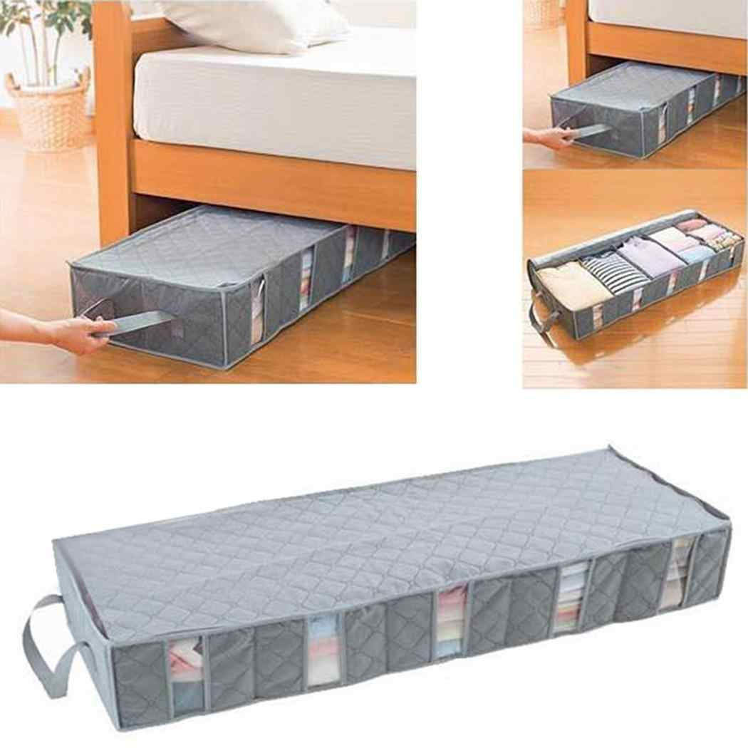 Large Capacity Storage Box Under the 540g Bed 53L Gray Clothing Finishing Bag