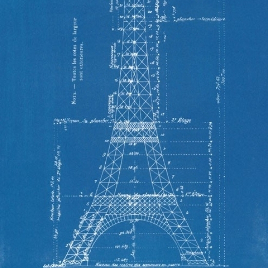 Eiffel Tower – Blueprints Laminated Poster Print (22 x 34)