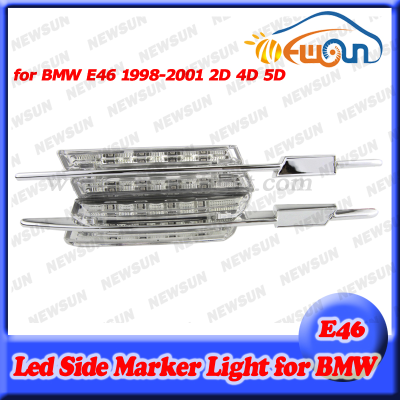 Auto Car Amber side repeater LED light side marker turn signal light for BMW E46 (1998-2001) 2D 4D 5D clear model error free free shipping 2x led turn signal side light auto parts led side marker car accessories with m logo for bmw e46 02 05 4d 5d
