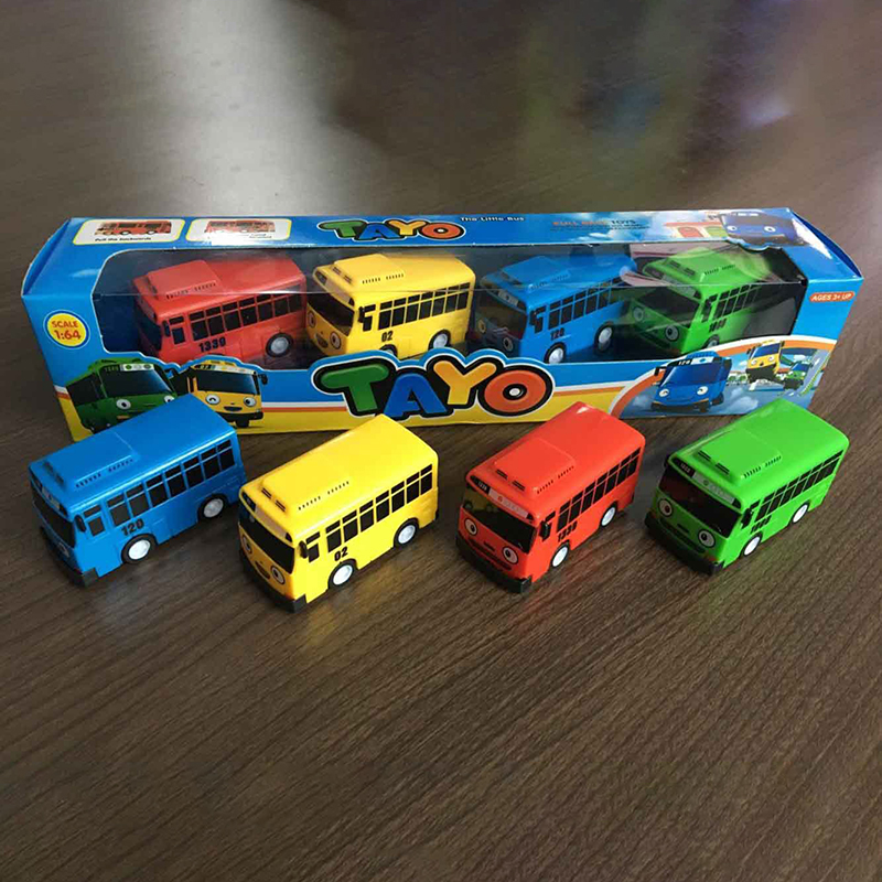 Cute 4pcs/set Tayo the Little Bus Mini Plastic Pull Back Blue Tayo Red Gani Yellow Lani Green Rogi Bus Car Model for kids Gift