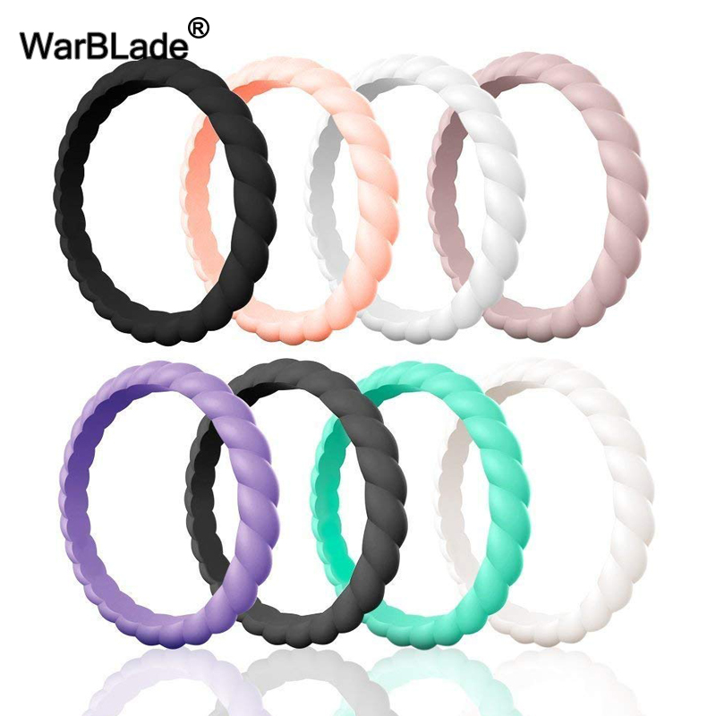 WarBLade 3mm Thin Braided Silicone Ring For Women