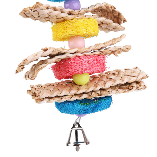 Colorful Eco-Friendly Wood & Loofah Parrot Toy