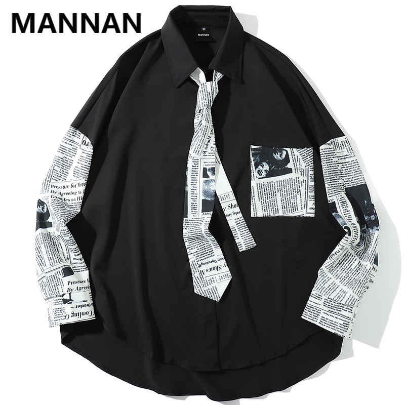 MANNAN 2019 New Spring And Summer Korean Casual Couple Men's Cotton Loose Trend Business Stitching Creative Long Sleeve Shirt