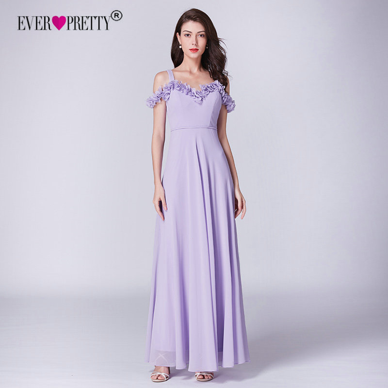 Lilac Dress For Wedding Party Ever Pretty EP07414LL Elegant A Line Long Chiffon  Bridesmaid Dresses Vestidos d6acd7626cbd