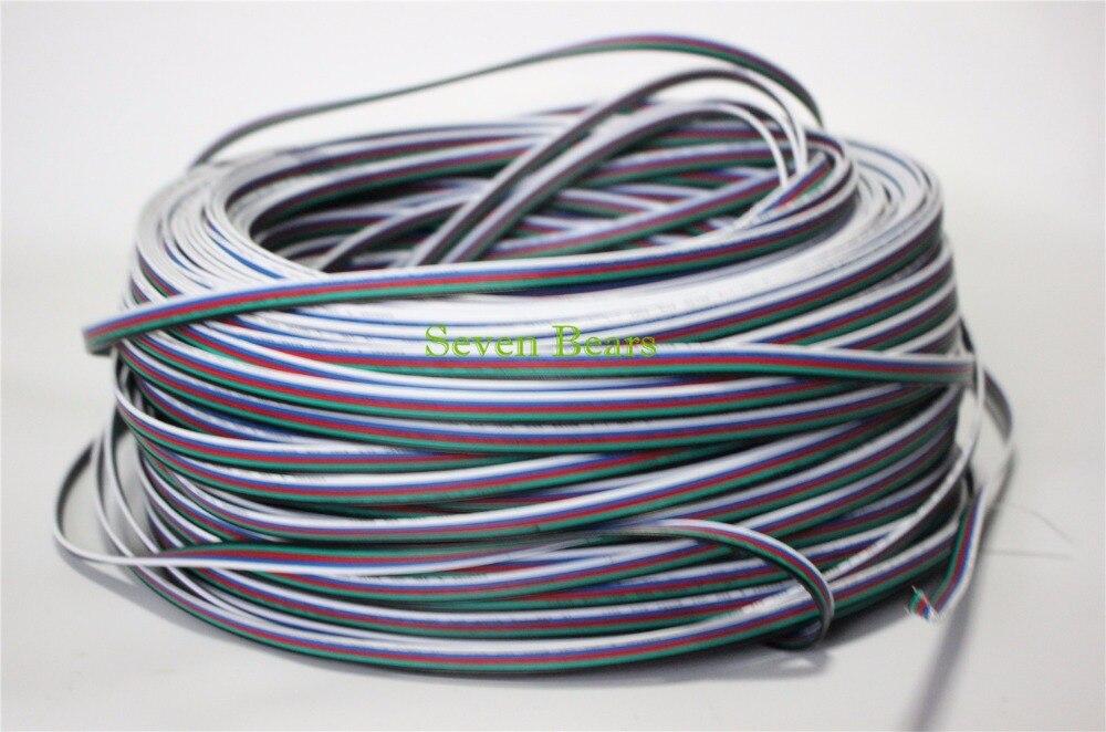 10 m 20 m 50 m 5 broches RGBW RGBWW Extension Câble Connecteur 22AWG RGB + Noir Fil Cordon Pour 5050 RGBW LED Bande/Lumière/Module etc.