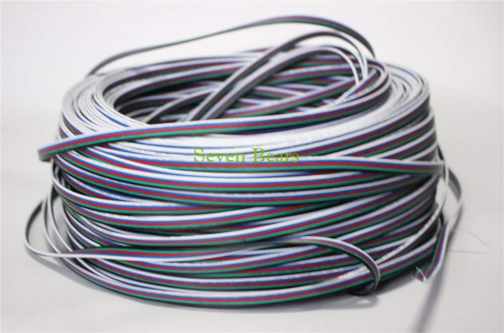 цена на 10m 20m 50m 5 pins RGBW RGBWW Extension Cable Connector 22AWG RGB+Black Wire Cord For 5050 RGBW LED Strip/Light/Module etc.