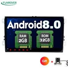 Funrover 2 Din 9 дюймов Quad core Android 8,0 автомобиль dvd gps для VW Polo Jetta Tiguan passat b6 fabia mirrorlink Wi-Fi Радио BT No DVD