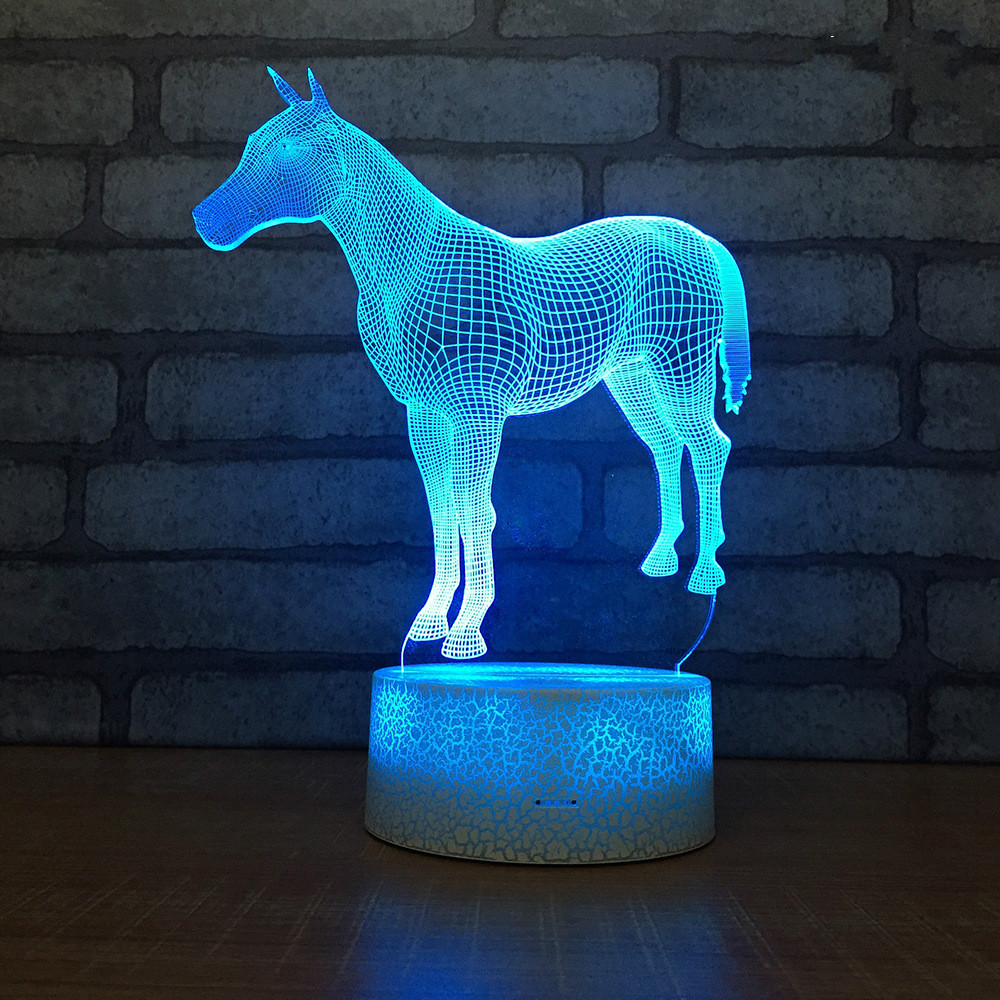 Horse Usb Novelty 3d Lamp Lovely Cartoon Children's Toys 3d Light Fixtures Remote Touch Usb And Battery Power Supply Kids Lamp