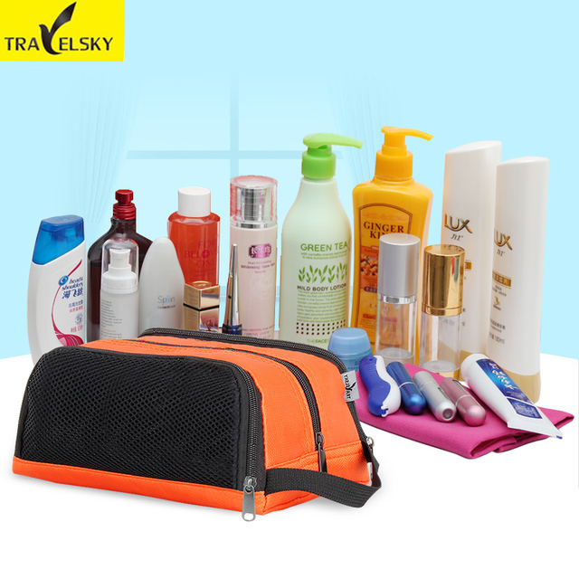 Material de nylon para la señora makeup cosmetic neceser impermeable bolsa de gran capacidad de 5 colores elección 1 unids envío libre 13544
