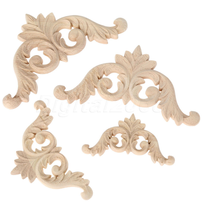 Wood carved corner onlay frame door decal furniture for Applique furniture decoration
