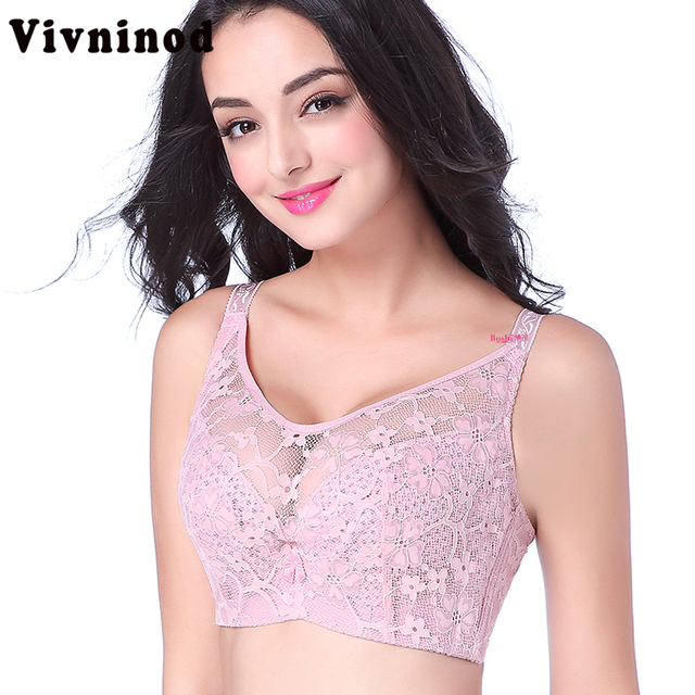 ad6ede743b701 Sexy Lace Bralette Spandex Thin Embroidery Push Up Bra Full Cup Wireless  Bras for Women Black 40D 38D Sujetador Sutia Brassiere