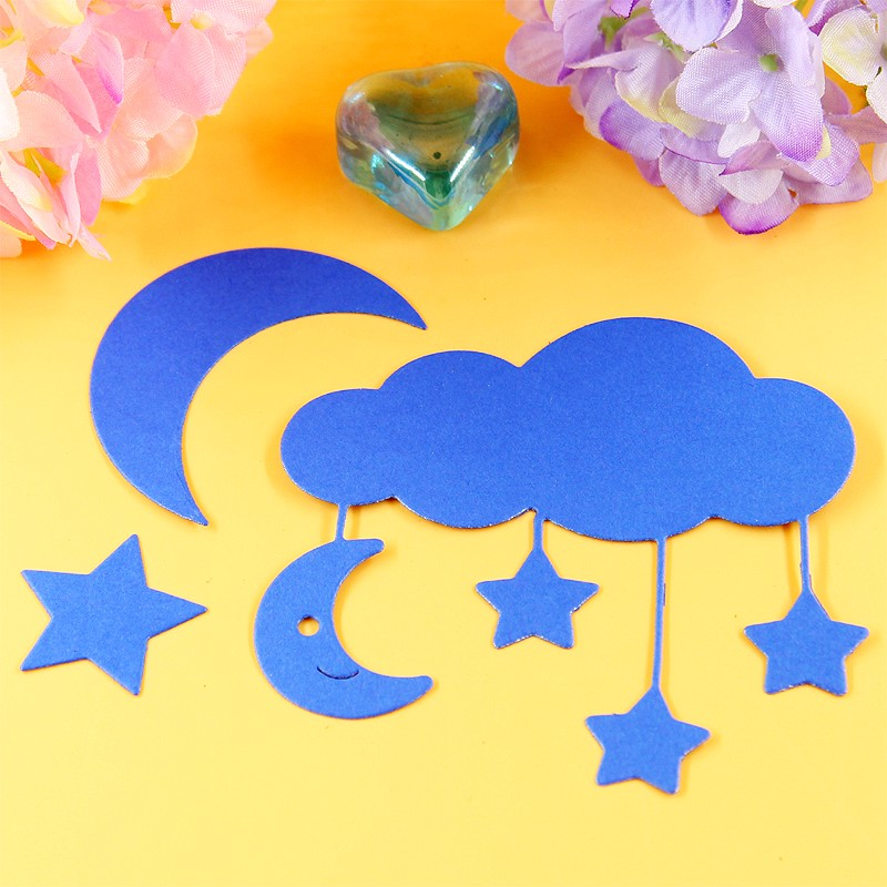 YLCD002 Cloud Star Moon Cutting Metal For Stencils Kerosakan DIY Kad Album Hiasan Album Embossing Folder Template Die Cuts