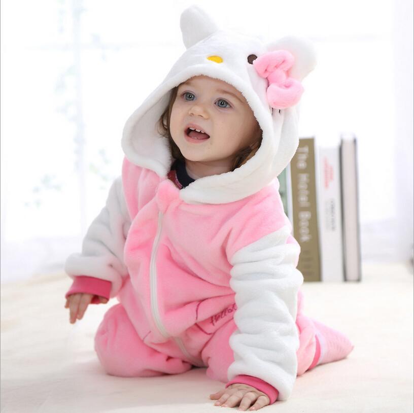 Baby rompers 2017 boys sleepwear girls newborn clothes Hello kitty Cartoon Jumpsuit Pajamas warm cute animal macacao bebe YJY11