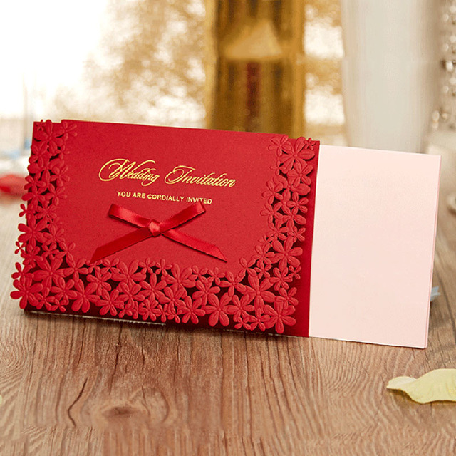 Us 15 85 10pcs Hot Creative Hollow Laser Cut Wedding Invitation Cards Delicate Carved Pattern Red Wedding Decoration Supplies In Cards Invitations