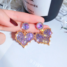 charm fantasy  temperament luxury earrings  korean heart shape earrings  jewelry purple rhinestone earrings pair of high heel heart rhinestone shape earrings