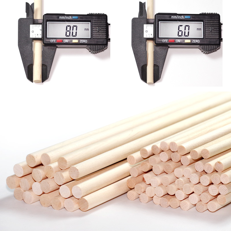 40cm L Wooden Round Popsicle Stick Kids Hand Crafts Art Ice Cream Lolly Cake DIY Making Funny Hot Tools - 6mm Or 8mm Diamater