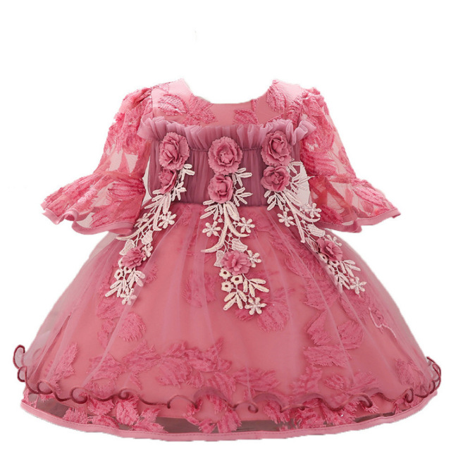 Baby Girl Dress Embroidered Flower Half Sleeve Princess Tutu Dress Baby Girl Gowns 1 Years Birthday Party Dresses Girls Costume