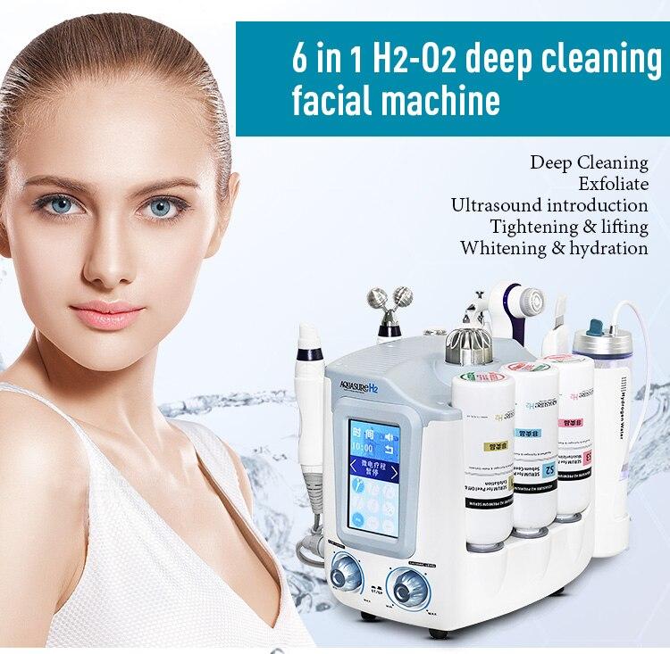 Mais novo 6 em 1 Hidro Máquina Dermoabrasão Hidra Rosto Profunda Facial Limpador de Cuidados Da Pele Facial Multifuncional Spa Equipamentos X-LASH
