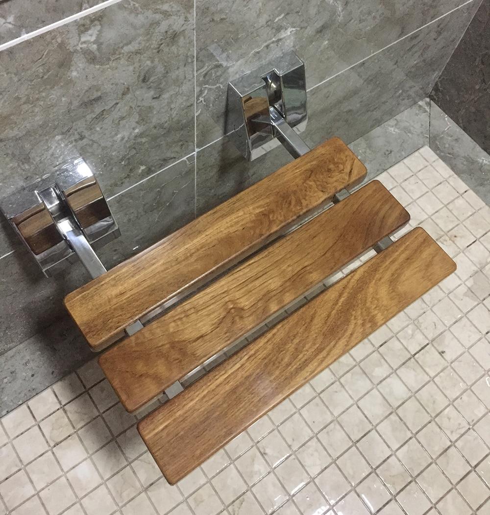 "DIYHD 15-3/4"" Modern Teak Folding Shower Seat Bench Chrome Wall Mount Teak Wood Shower Seat"