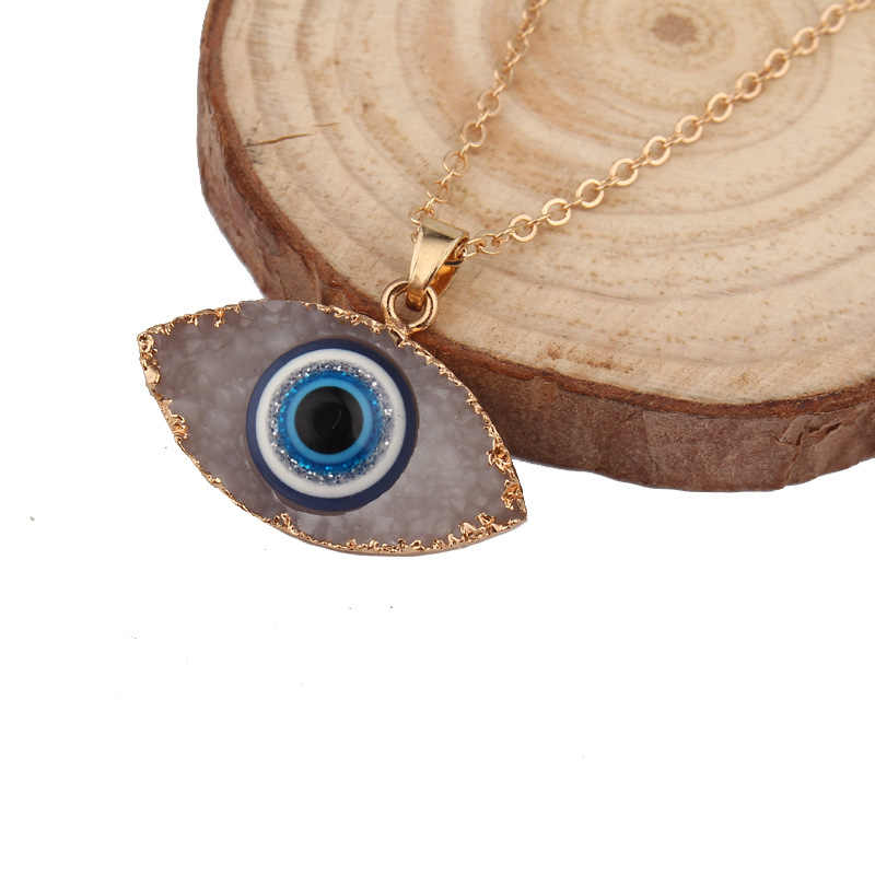 personality natural stone druzy evil eyes pendant necklace long chain crystal Turkish eye necklaces women girls luck jewelry
