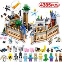 4385 шт. Minecrafted большой волшебный орган замок строительные блоки Legoing Мини Дракон Стив цифры кирпичи дети просветить игрушки подарок