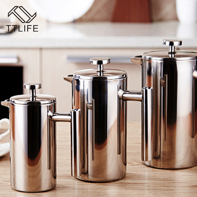 TTLIFE 350ML 800ML 1000ML Delicate Coffee Maker 304 Stainless Steel French Press Coffee Tea Pot with Filter Double Wall