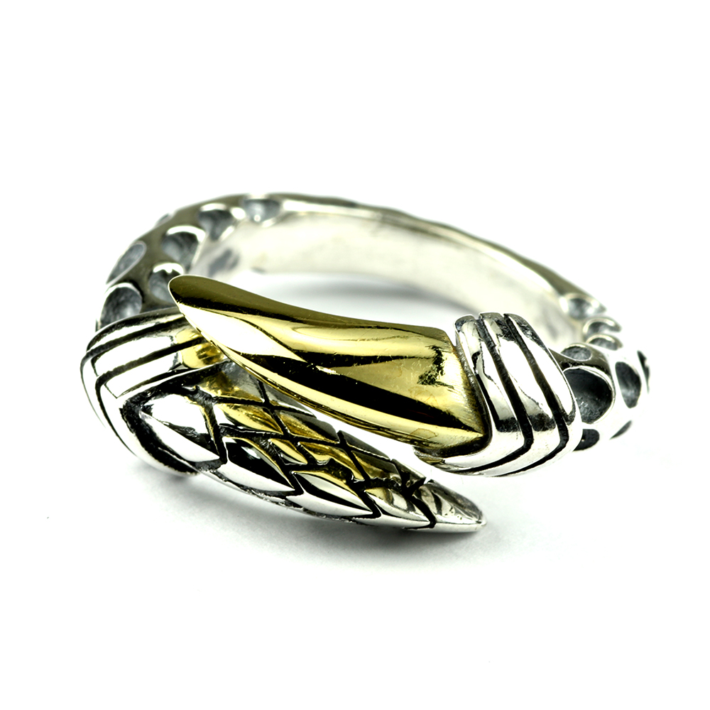 Real Solid 925 Sterling Zilveren Ringen Voor Vrouwen Dragon Claws Vormige Vintage Punk Rock Staart Ringen Verstelbare 5 6 7
