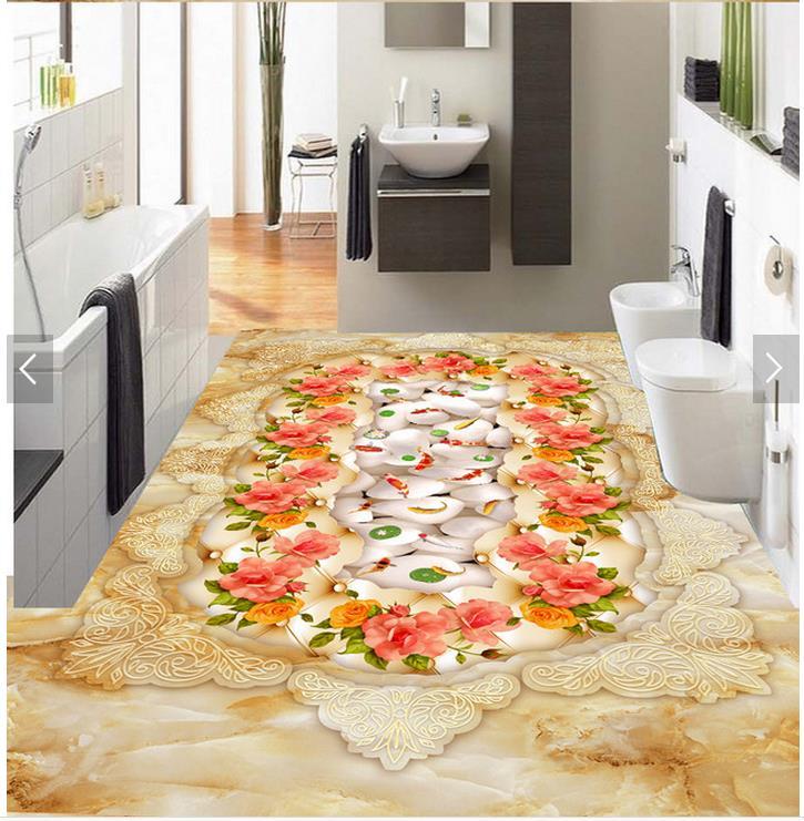 ФОТО 3D wallpaper floor for living room marble fish flower Custom Photo self-adhesive 3D floor PVC waterproof floor
