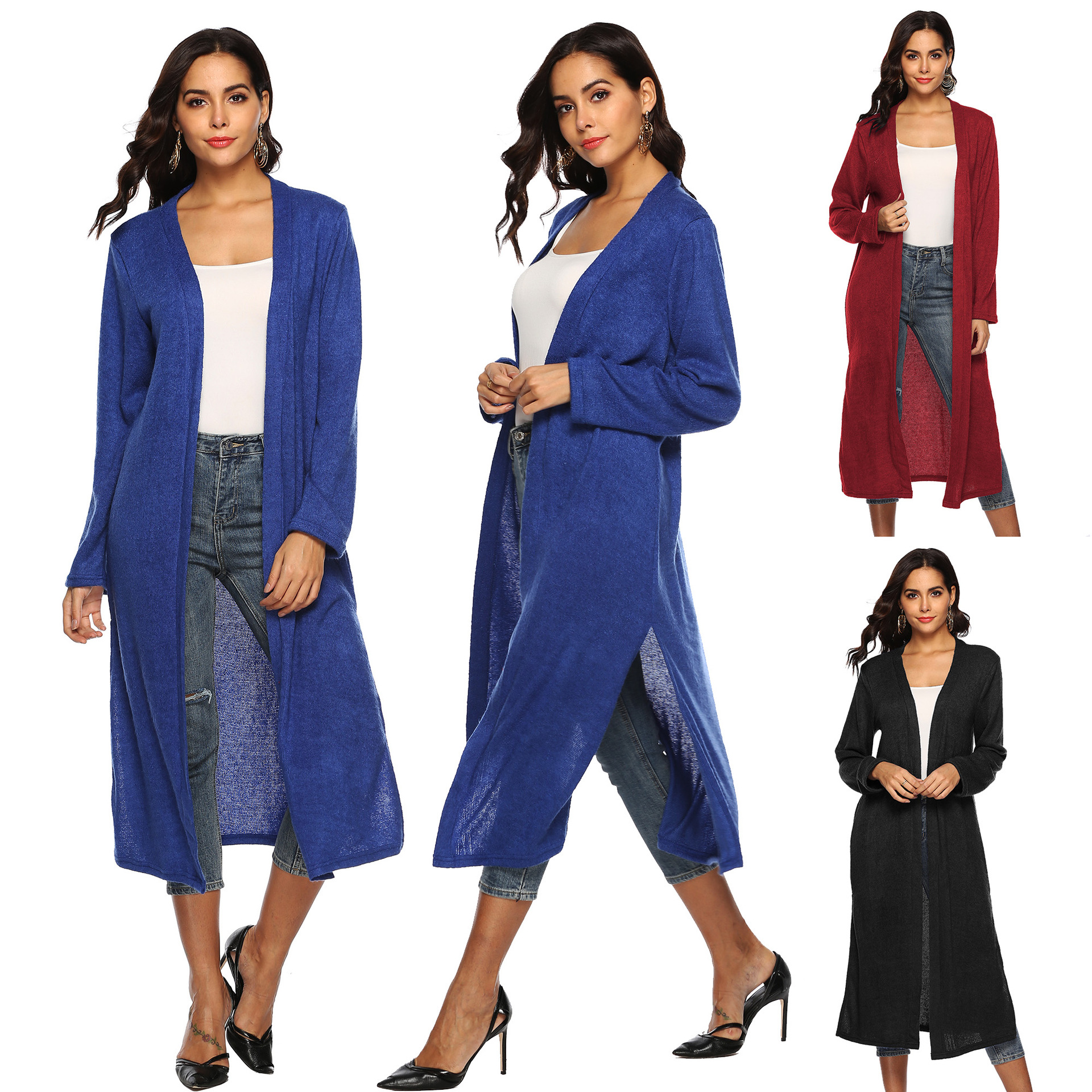 autumn and winter hot sale basic solid woman coat X Long flocking O Neck open stitch loose plus size 2019 female coat in Wool amp Blends from Women 39 s Clothing