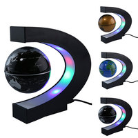 Luminous Magnetic Levitation Floating Globe C Shape Terrestrial Globe Light World Map English Globe Night Light Desk Lamp Decor