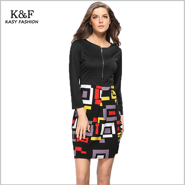 US $8.99 |Women Plus Size Zip Front Tunics Geometric Designer Sleeves Club  Dress 2018 Spring Summer High Waist Festival Party Outfits 3XL-in Dresses  ...