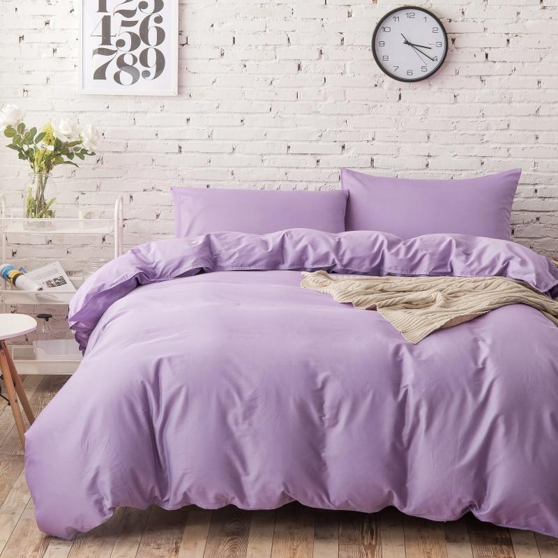 4pc 100 Cotton Elegant Light Purple Bedding Sets Queen Size Lilac