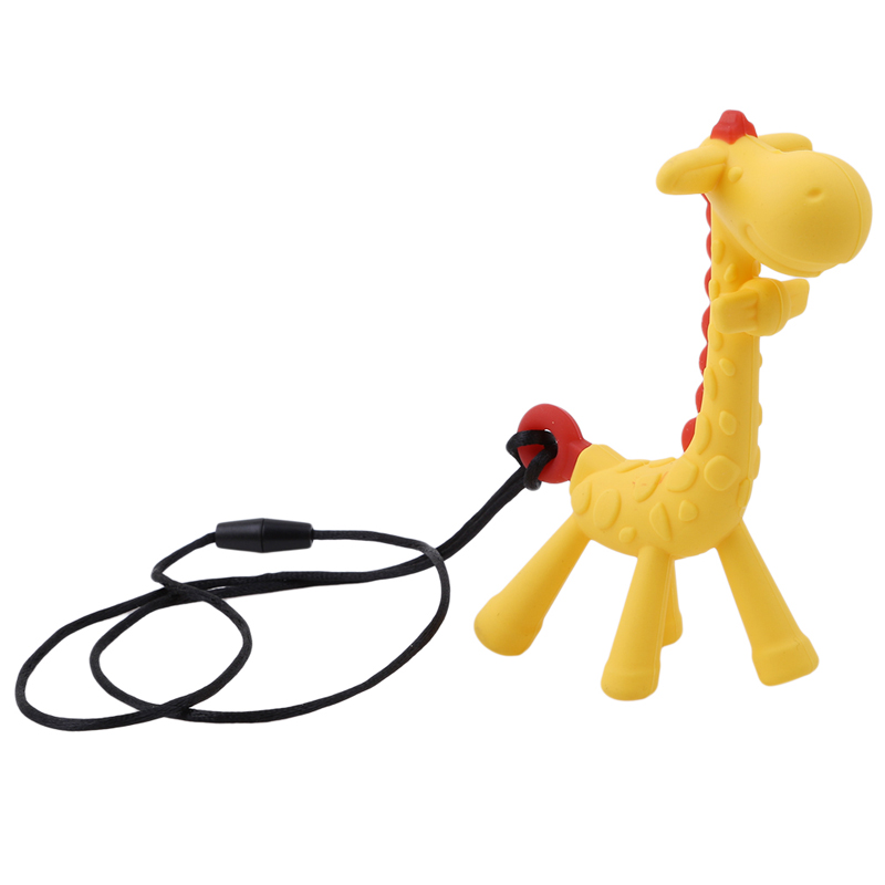 BPA Free Infant Teething Toy Baby Silicone New Necklace Hanging Toy For Baby Activity Cartoon Giraffe Shape