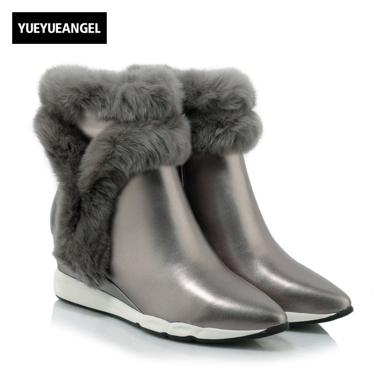 New Hot Sale Fashion Women Wedges Shoes Pointed Toe Comfortable Genuine Leather For Women Warm Fur Ankle Snow Boots Side Zipper high quality 440mm 17 inch hand riveter pull rivet nut riveting tools with one die of m10 free shipping bt 604 auto remove nut