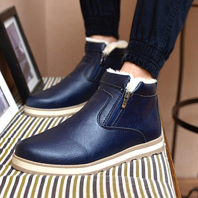 2018 Größe 39-44 Männer Winter Warme Stiefel Casual Schuhe Männer Mode Plüsch Schnee Stiefel Stiefeletten Pelz Leder Schuhe Geeignet FüR MäNner, Frauen Und Kinder