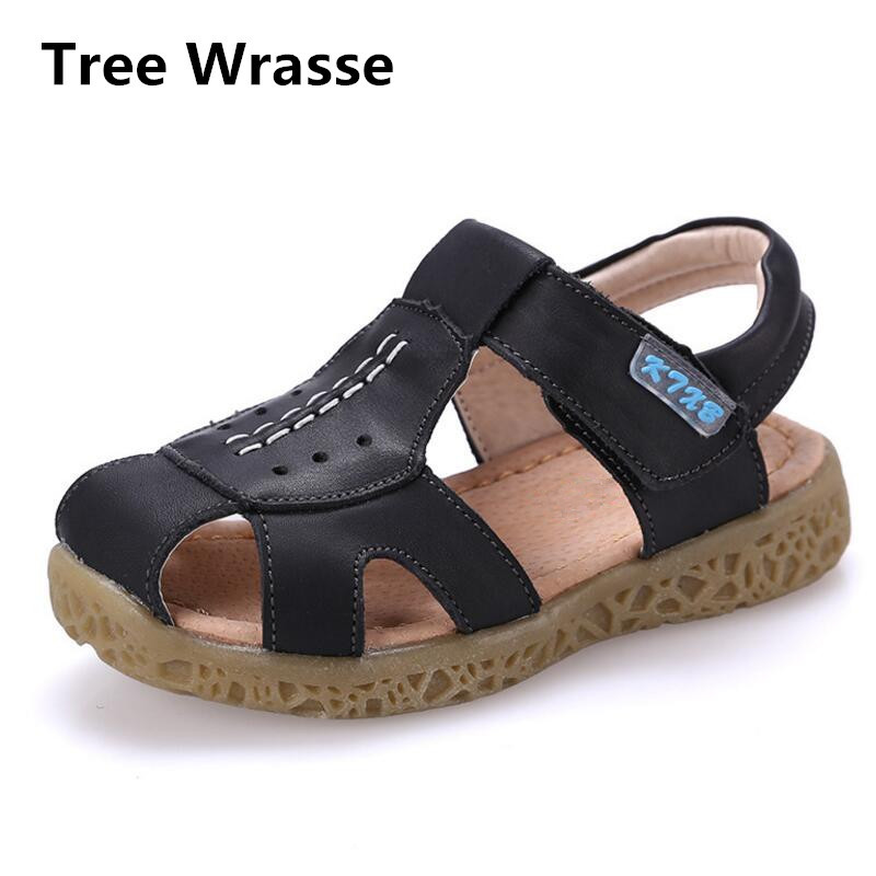 Boys Sandals For Girls Children Genuine Leather Shoes Summer New Kids Breathable Sport Shoes Non-slip Cowhide Beach Sandals