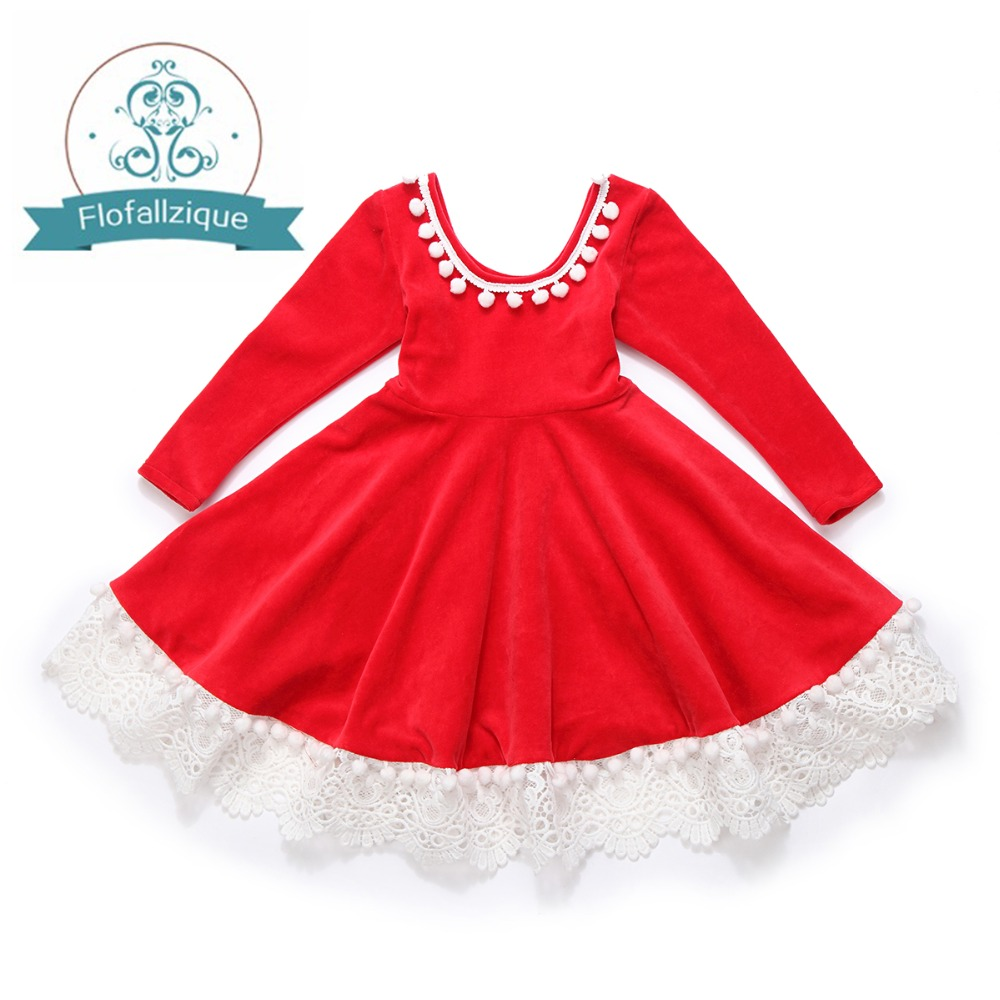 Girl dress autumn 2018 Winter Velvet Red Tassels Lace Party Wedding Princess Dresses Costume Christmas Girl clothes vestidos nicbuy girl s autumn winter dress 2017 new children add velvet and lace princess fashion dress red blue