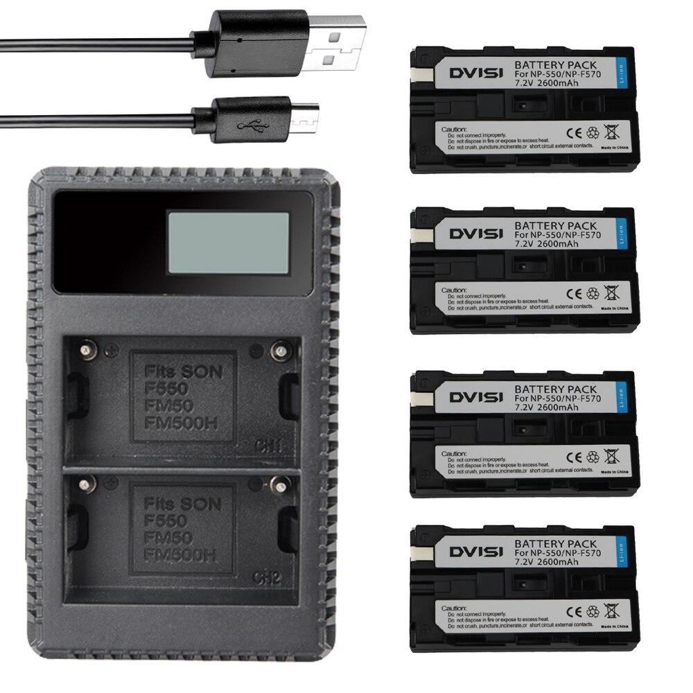 цена на 4Pcs Battery NP-F570 NP-F550 NP F550 F570 F530 camera Battery + NP-F530 battery charger for Sony NP-F570 F530 CCD-SC55 CCD-TRV81