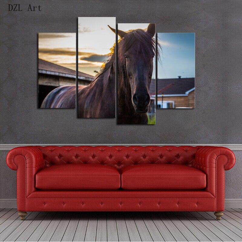 Drop Shipping 4 Piece framed Horse Modern Home Wall Decor Canvas ...