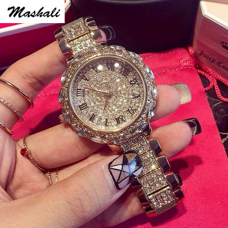 Mashali Brand  Women Quartz Watch Stainless Steel Full Diamond Watches Shining  Lady Dress Watch Wristwatches Lady Clocks gift 2017 new hot kimio women s brand watches stainless steel fashion quartz bracelet wristwatches women lady dress watch clocks