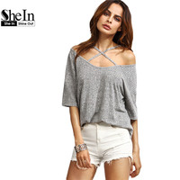 SheIn Womens Casual Tees Summer T Shirt Tops Ladies Grey Ribbed Criss Cross Front Half Sleeve