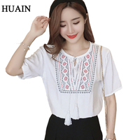 Embroidery Blouse Ethnic Style Linen Blouse Shirt Women Vintage Bohemian Pattern Shirt Summer 2017 New Short