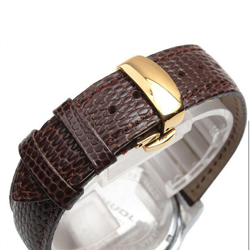 Black Brown Lizard Pattern Genuine Leather 18 20 22 24 MM Watche Band Strap Belt Watchband Folding Clasp / Buckle Watchband