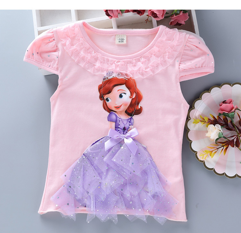 Girls New Summer Princess T-Shirt Elsa Childen Cotton Tees Lace T Shirt 3D Diamond Appliques Kids Birthday Party Top Clothing 13