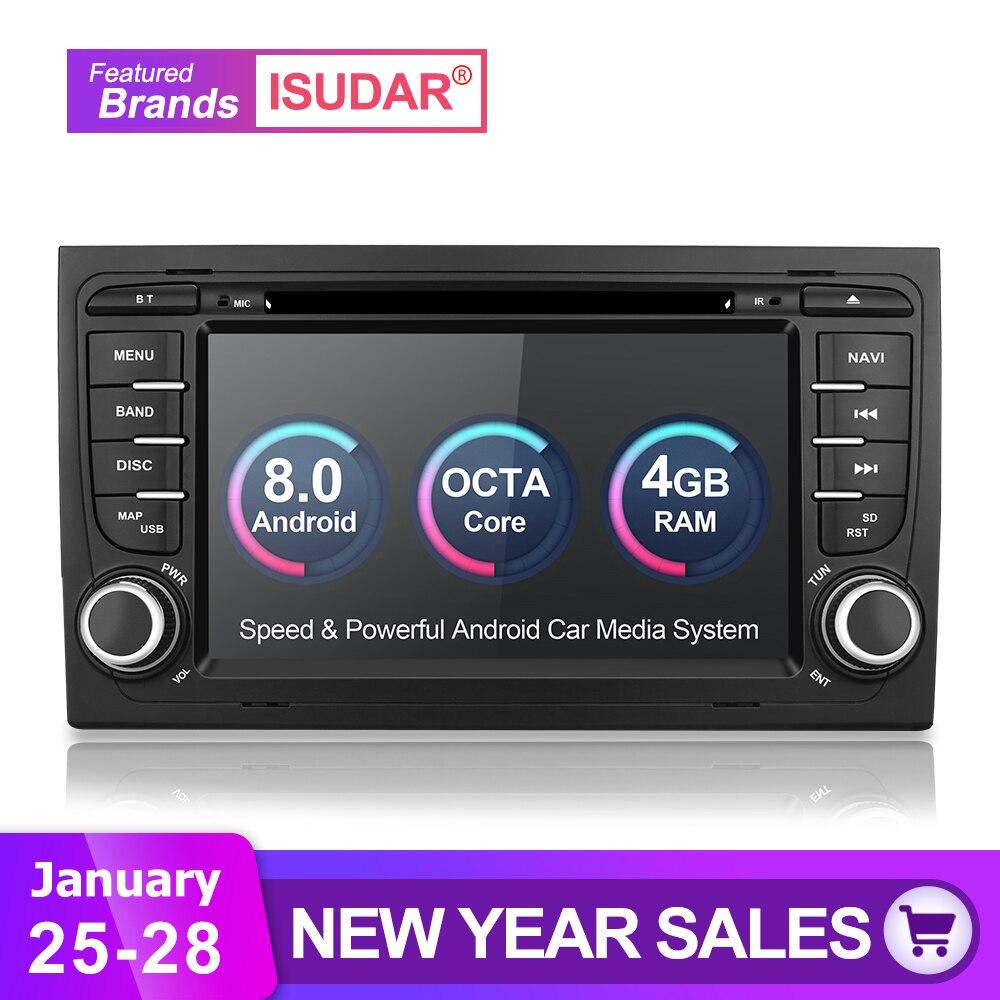 Isudar Voiture Lecteur Multimédia De Voiture Radio 2 Din GPS Android 8.0.0 Système Stéréo Pour Audi/A4/S4 2002 -2008 4 GB RAM DSP DVR OBD2 FM