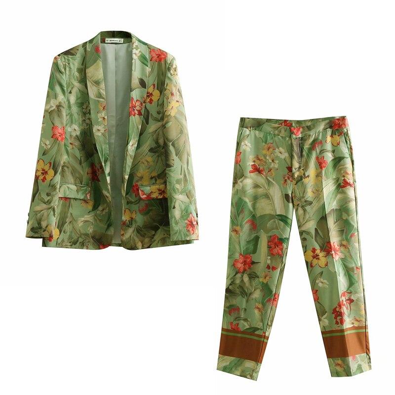 Women Suit Summer Set Vintage Floral Print Kimono Blazer Jacket Straight Pants Two Piece Set Big Size Loose Pant Suits For Women
