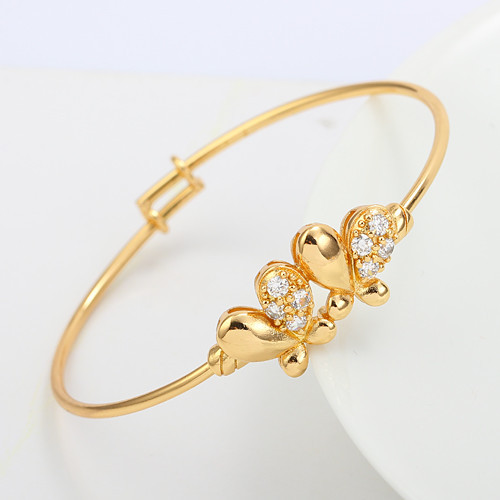 Butterfly Twins 18k Yellow Gold GF Crystals Baby kids Bangle