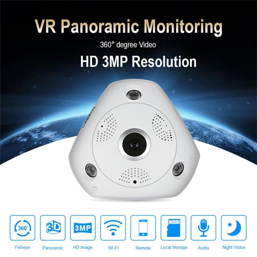Hiseeu 360 Degree Wifi Fisheye Panoramic Camera Mini Wireless Dvr IP Endoscoop High Quality Baby Monitor Camaras De Seguridad