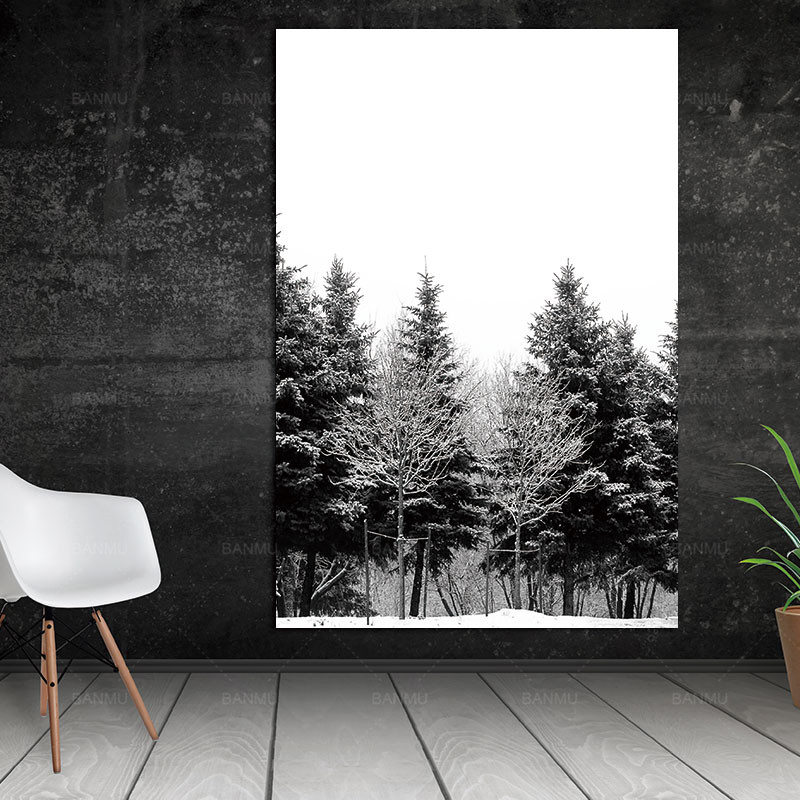 Wall-Pictures-Canvas-Painting-Prints-on-Scandinavian-Nordic-Abstract-Art-Winter-Snow-Forest-Trees-Decoration-Pictures